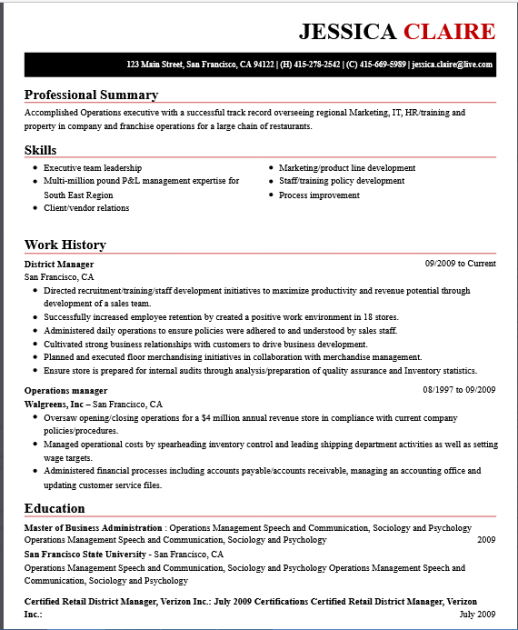 Walgreens Resume professor resume example Professional Resume