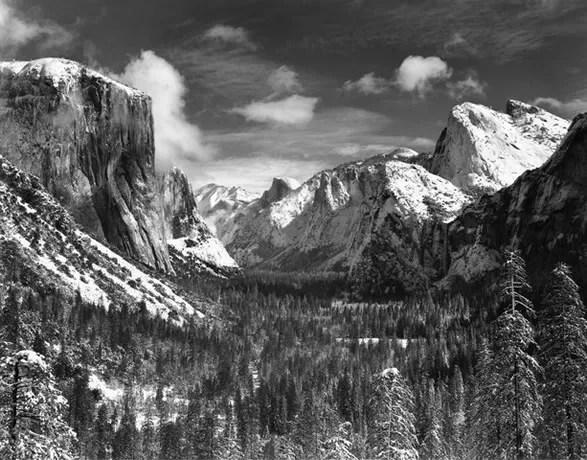 yosemite valley winter by Ansel Adams