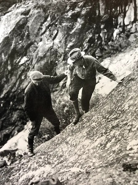 Charlie Michael and Ansel on the climb to the Diving Board, Yosemite National Park, 1927