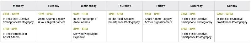 Photography Class Calendar