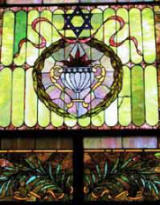 stained glass at monroe street Synagogue
