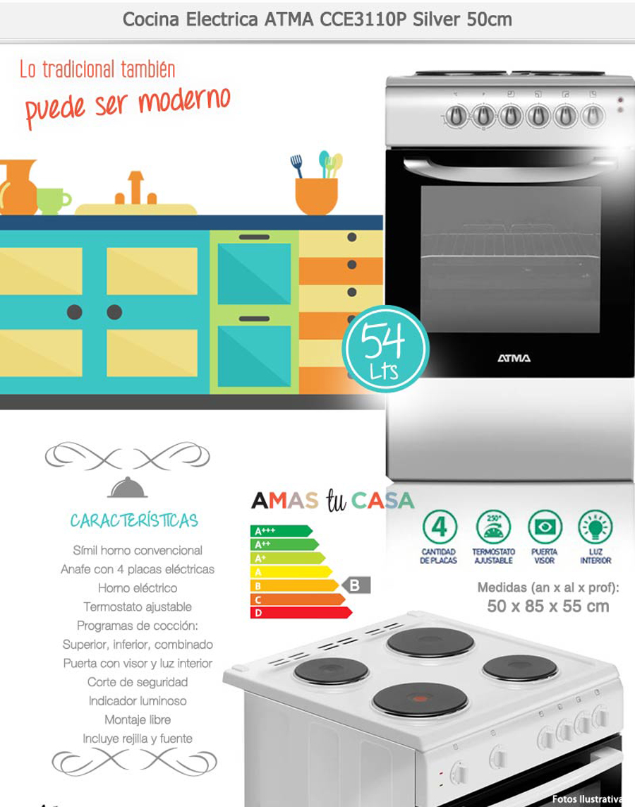 Cocina Atma Electrica 50cm Cce3110p Gris Plata Horno Unica
