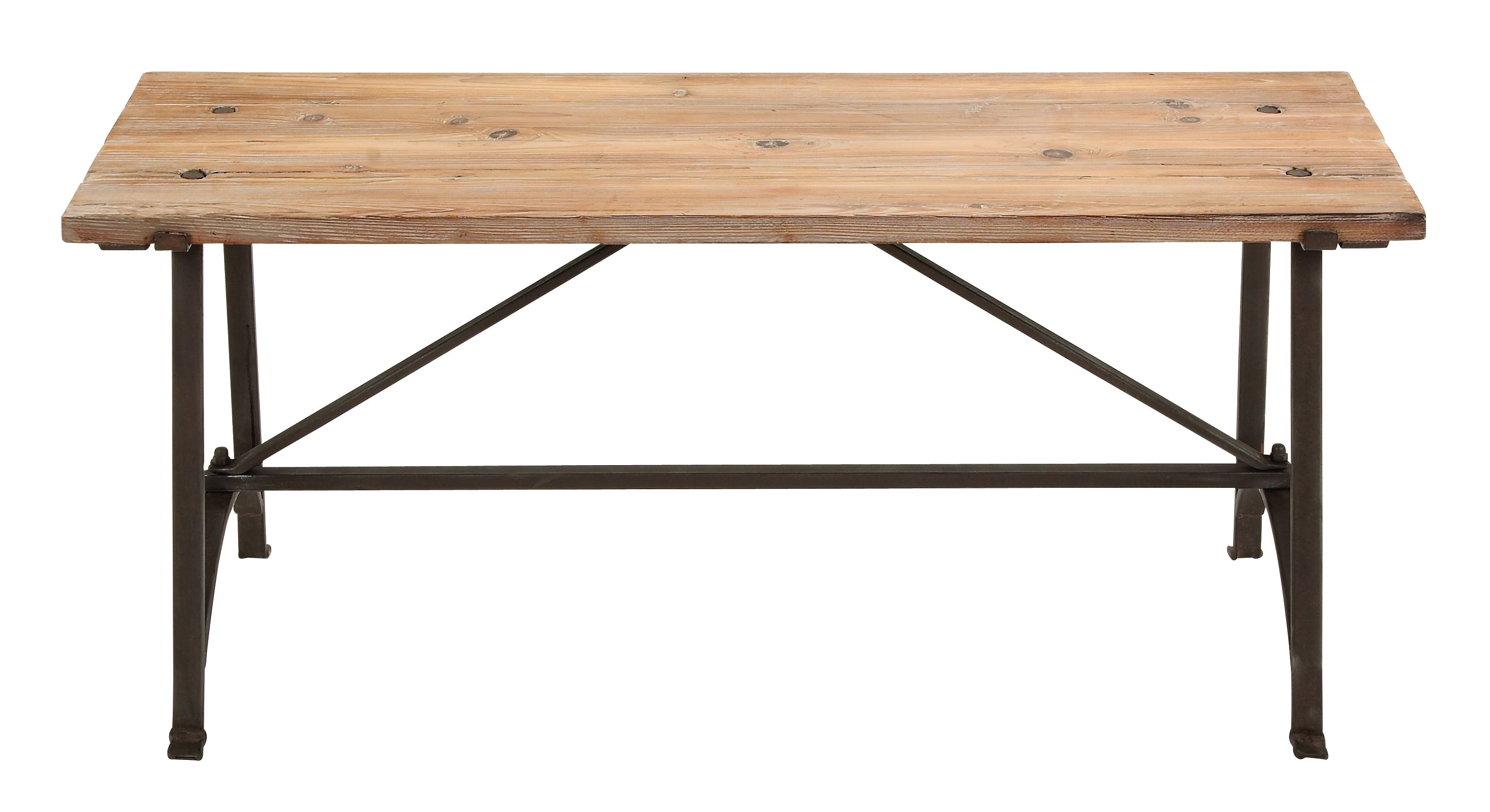 Lovely Rustic Wood Bench With Metal Frame