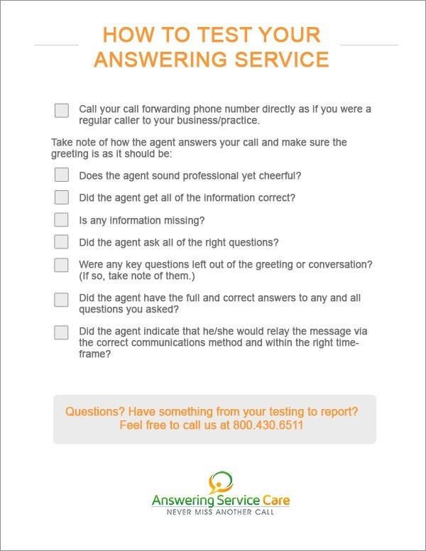 Instructions to test your answering service