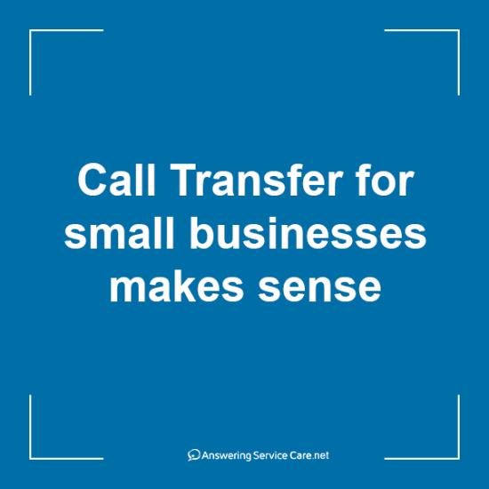 Call Transfer for small businesses makes sense