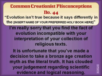 Creationist Misconceptions No. 44 - PREFERRED HOLY BOOK