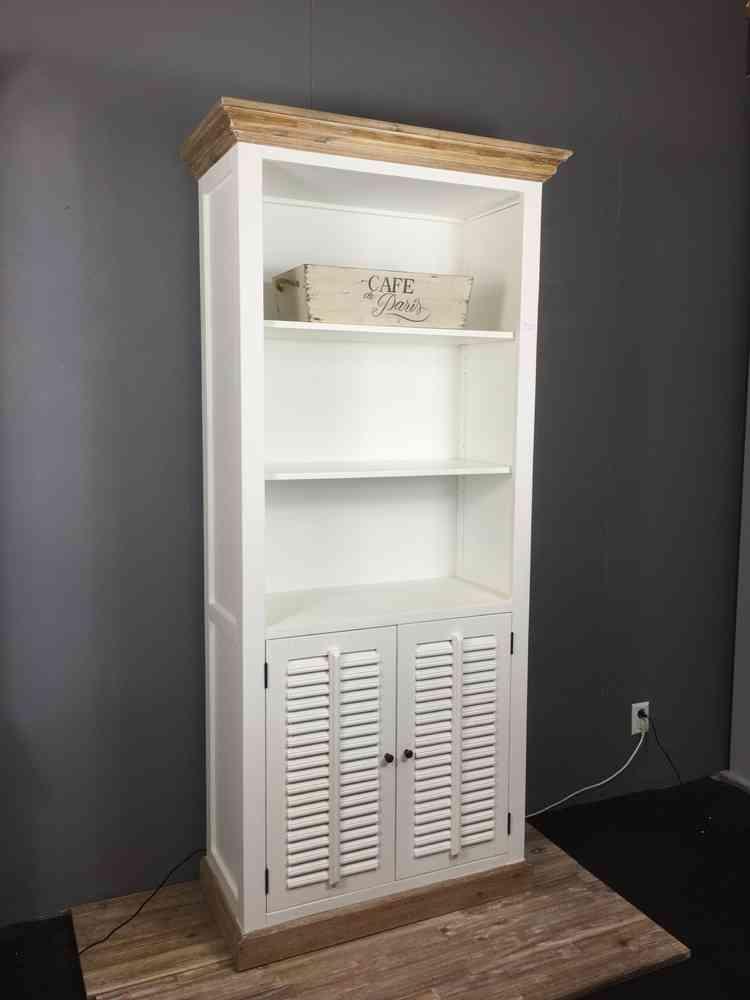 Landelijke boekenkast wit  shutters 100 cm Ans Woonwinkel