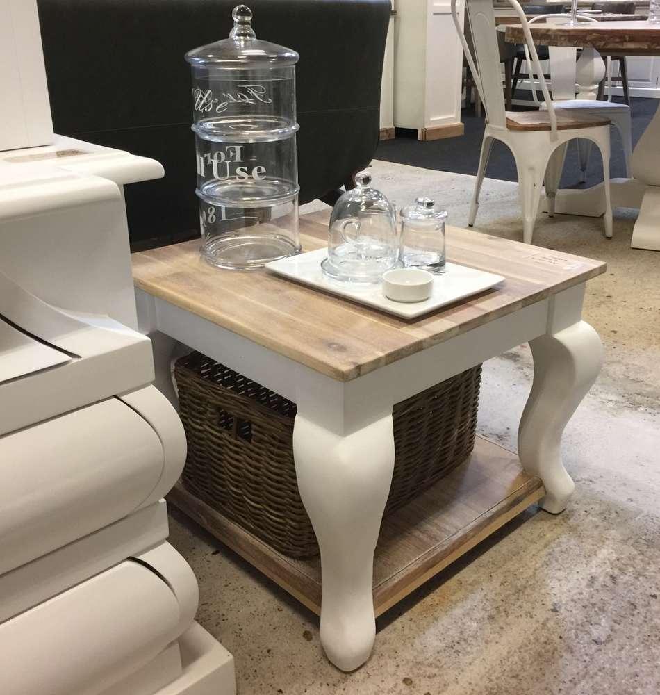 Landelijke witte vierkante salontafel 95cm half juni
