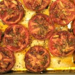 slow roasted tomatoes out of the oven