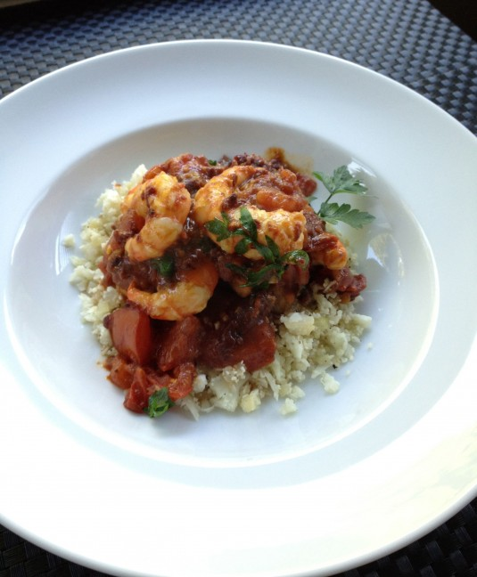 paleo diet challenge day 3 tomato spot prawns cauliflower rice