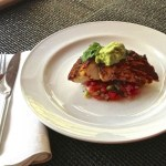 chili cumin halibut with pico de gallo and guacamole