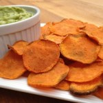 guacamole and baked yam chips