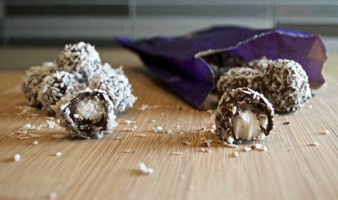 chocolate covered coconut snowballs purdys