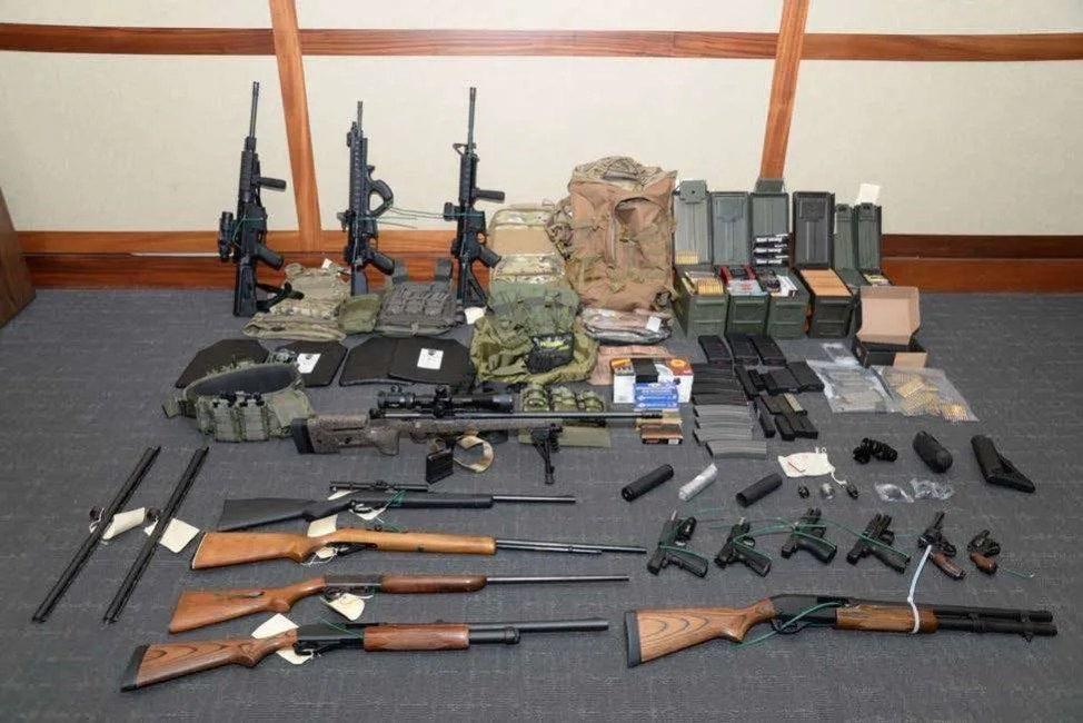 The stockpile of guns found by investigators owned by Christopher Hasson, the U.S. Coast Guard officer accused of a mass murder plot | Photo: U.S. Attorney's Office in Maryland | Public Domain
