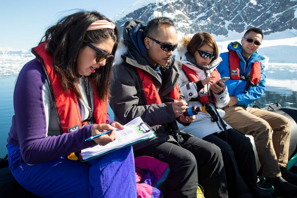 Citizen science program on our Antarctic Air-Cruises. Photography by Sandra Walser.