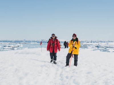 Walk on sea ice in Antarctica, excursion on land.
