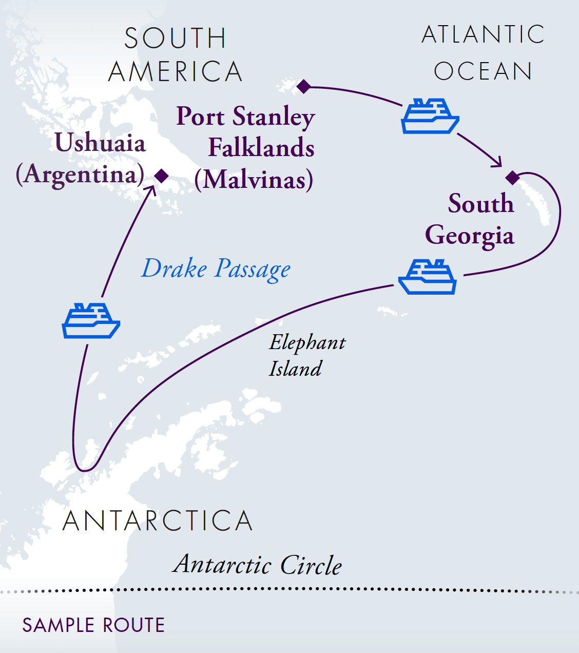 Falklands, South Georgia & Antarctica Sea Voyage Map