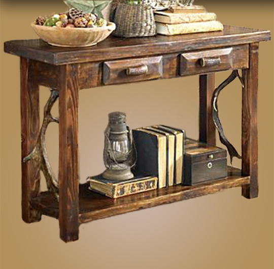 sofa console tables wood black leather chesterfield from heal s rustic table antler made fallow 2 drawer