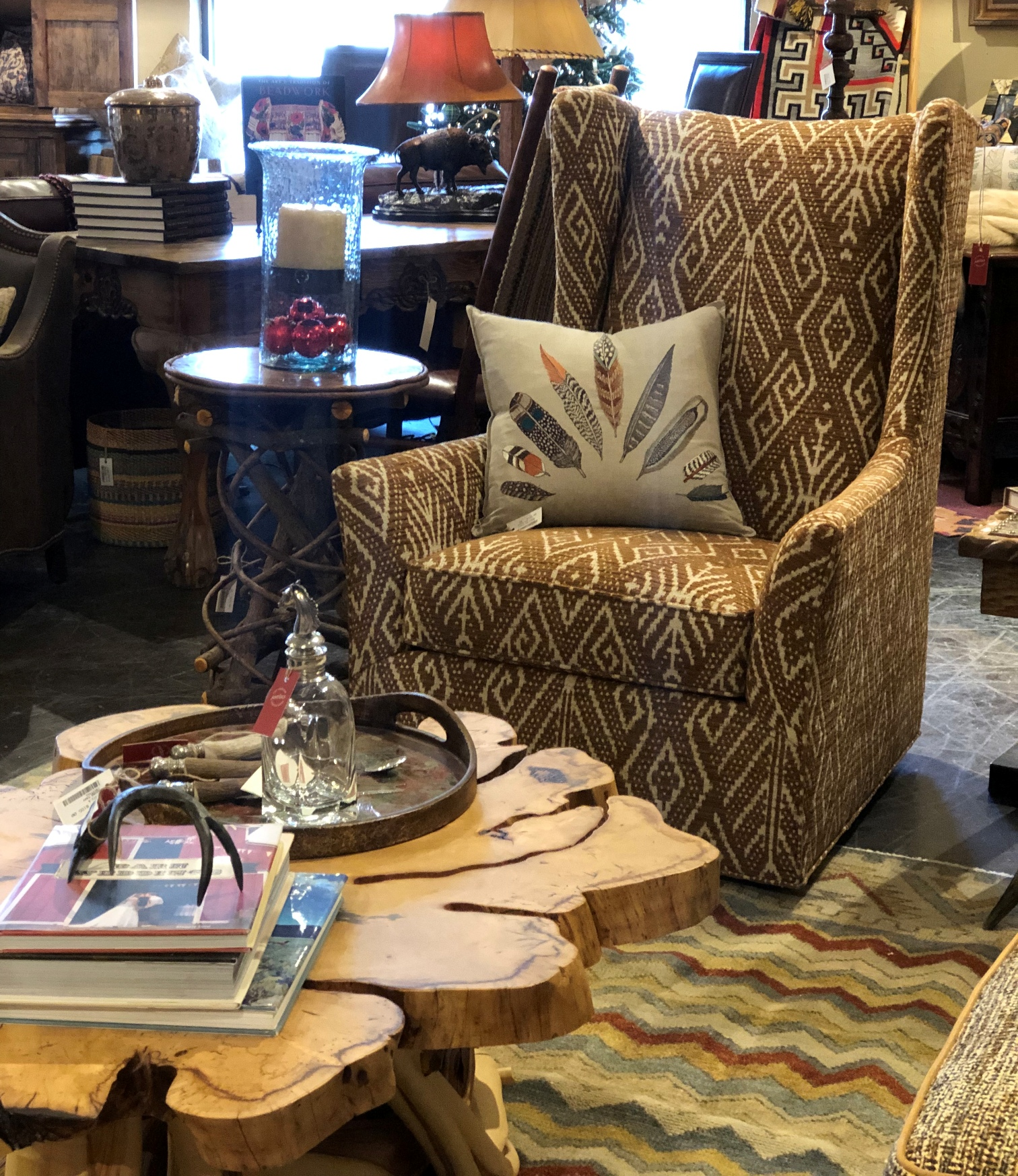 rustic accent chair and accessories at