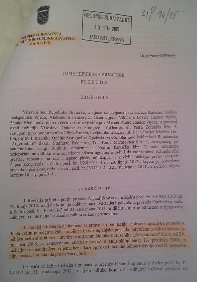 Presuda Vrhovnog suda Dokoza