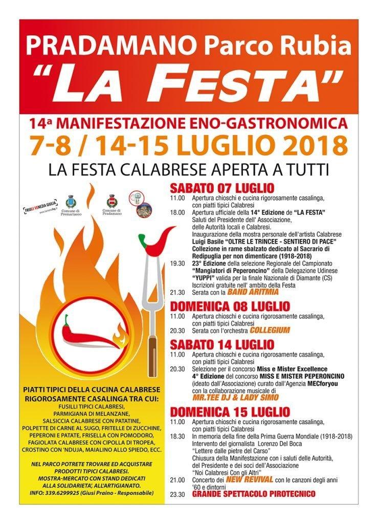 La Festa Calabrese 2018 a Pradamano