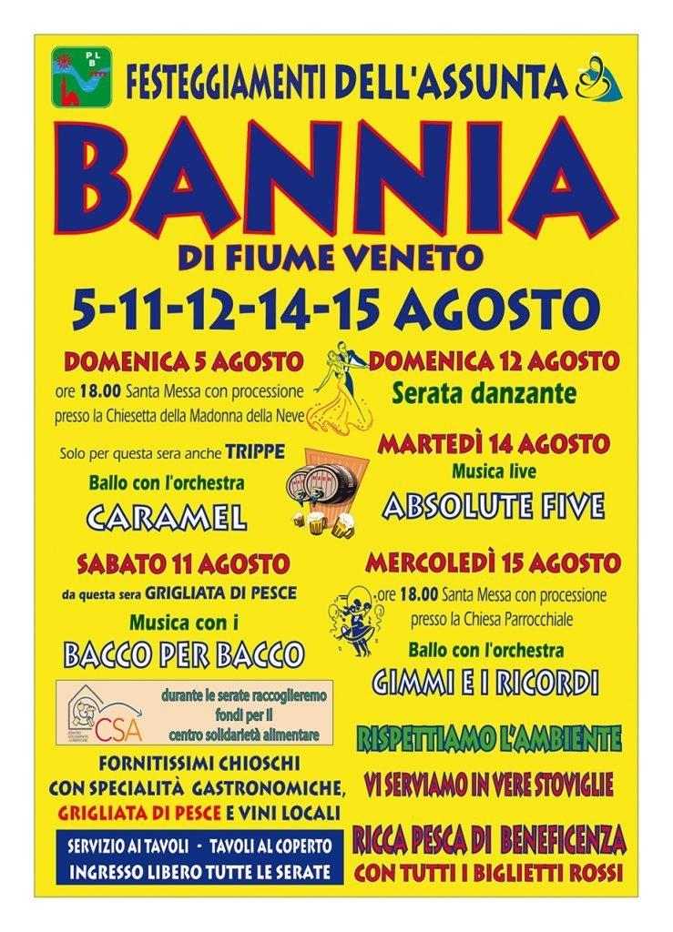 Festeggiamenti dell'Assunta 2018 a Bannia