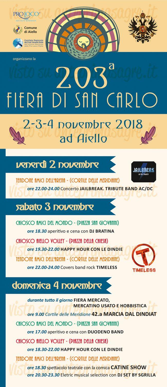 Fiera di San Carlo 2018 ad Aiello del Friuli locandina