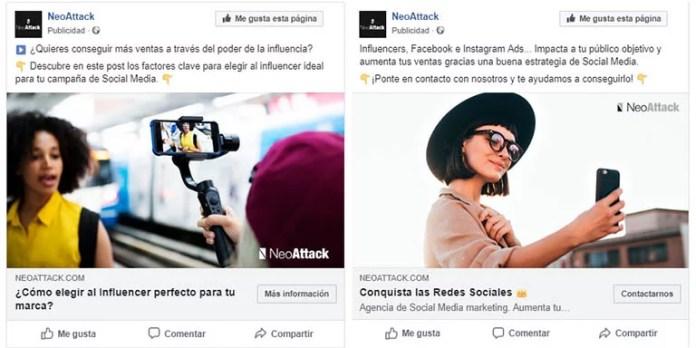 Ejemplos de anuncios de Facebook Ads