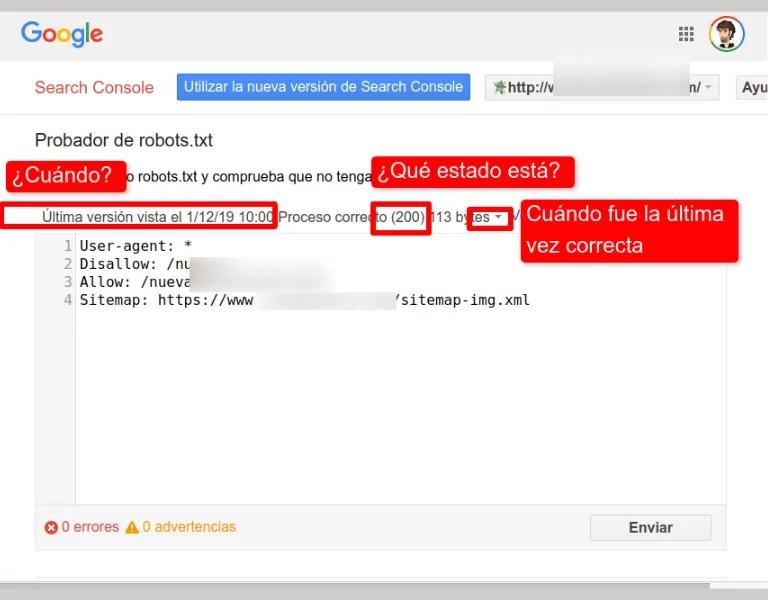 Probador de robots.txt Google Search Console