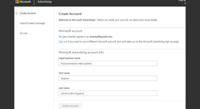 Create your account in Microsoft Advertising