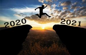 happy new year leap from 2020 into 2021