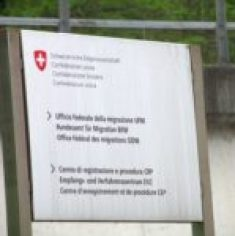 Sign outside the refugee processing center in Chiasso.