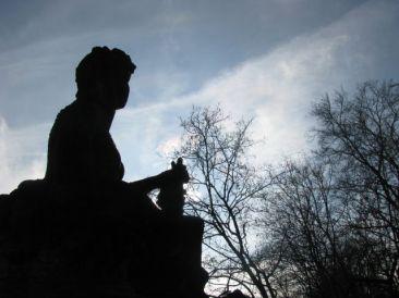 The silhouette of a Greek statue in Munich