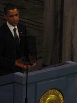 President Obama delivers his acceptance speech for the Nobel prize.