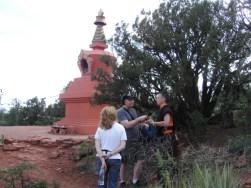 Interviewing a monk near the Stupa