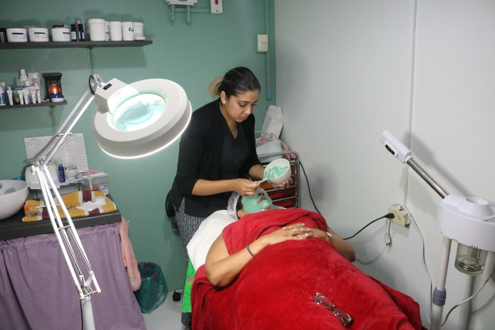 Fareeza Manbodh performs a Repechage Vita Cura facial on a client at Zen Garden Spa, Sutton Street, San Fernando.