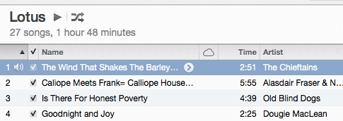 First song on the list is The Wind That Shakes the Barley