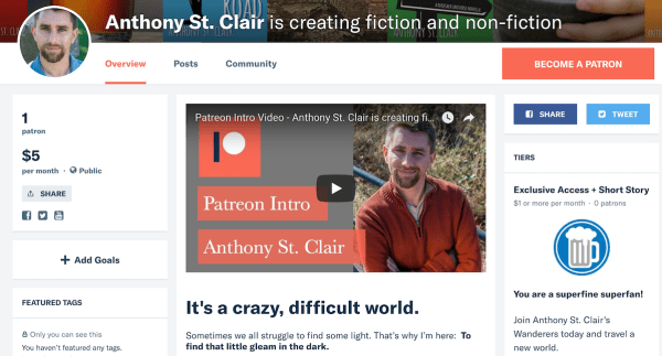 Anthony St. Clair is creating fiction and non-fiction. Back his work on Patreon today