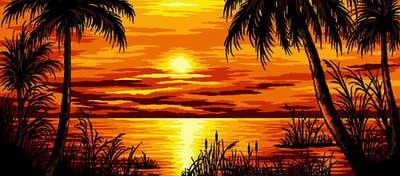 Tramonto tropicale  Mezzo punto punto croce gobelin a