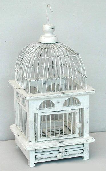 Antica Soffitta Gabbia per Uccelli Decorativa 40cm shabby