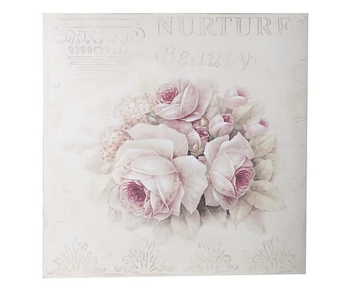 Antica Soffitta Pannello stampa 100cm targa quadro rose fiori shabby chic
