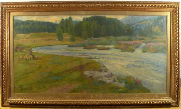 Paesaggio con fiume firmato Achille Tomietti della fine dellOttocento