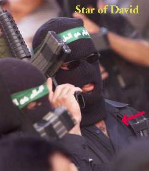 Hamas man wearing zionist star!