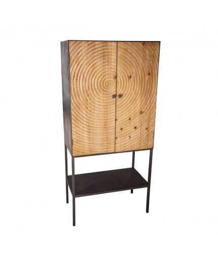 meuble bar 2 portes fer bois coll sun