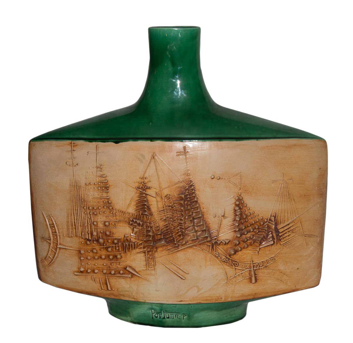 Vase plat en cramique de Vallauris sign Portanier circa 1960  XXe sicle  N45392