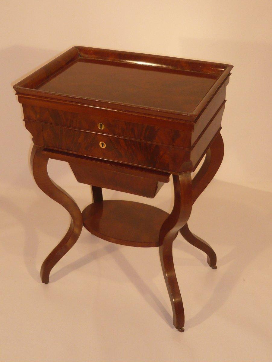 19thc mahogany sewing box ref 16850