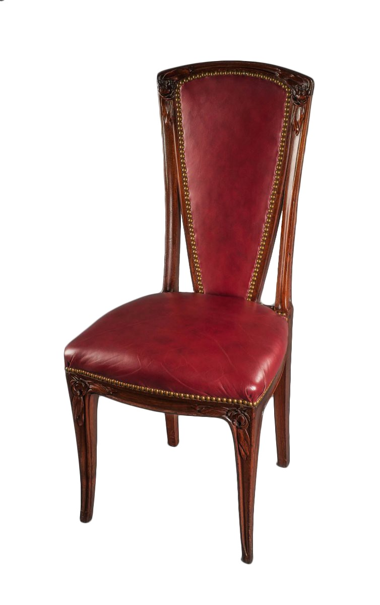 tall back dining chairs cream slipper chair set of eight french art nouveau period