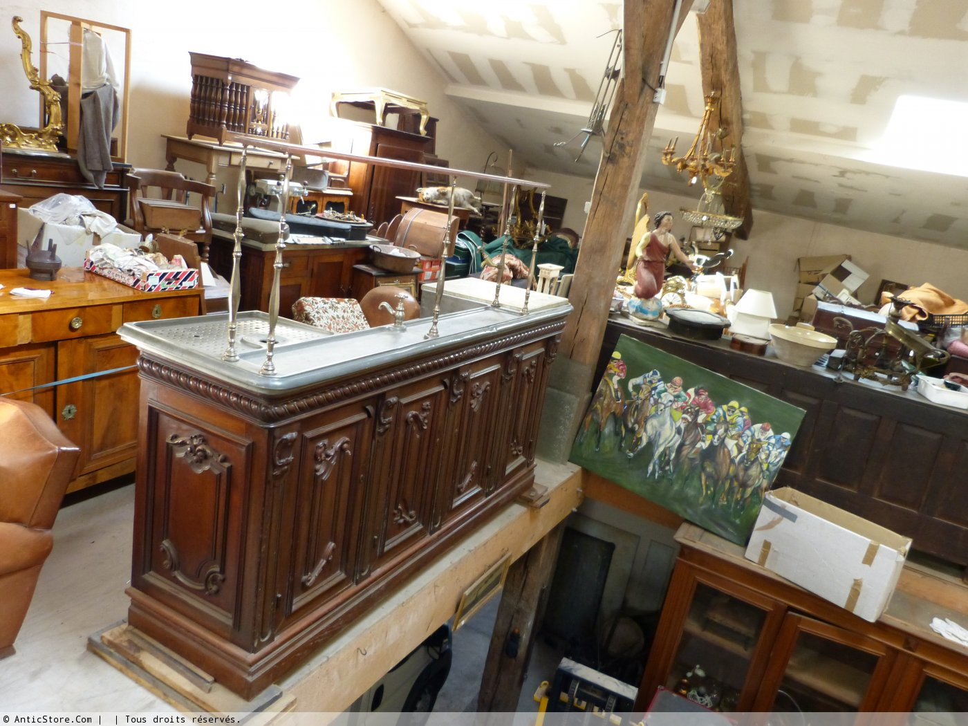 Bar Comptoir Zinc De Bistrot En Acajou XIXe Sicle N