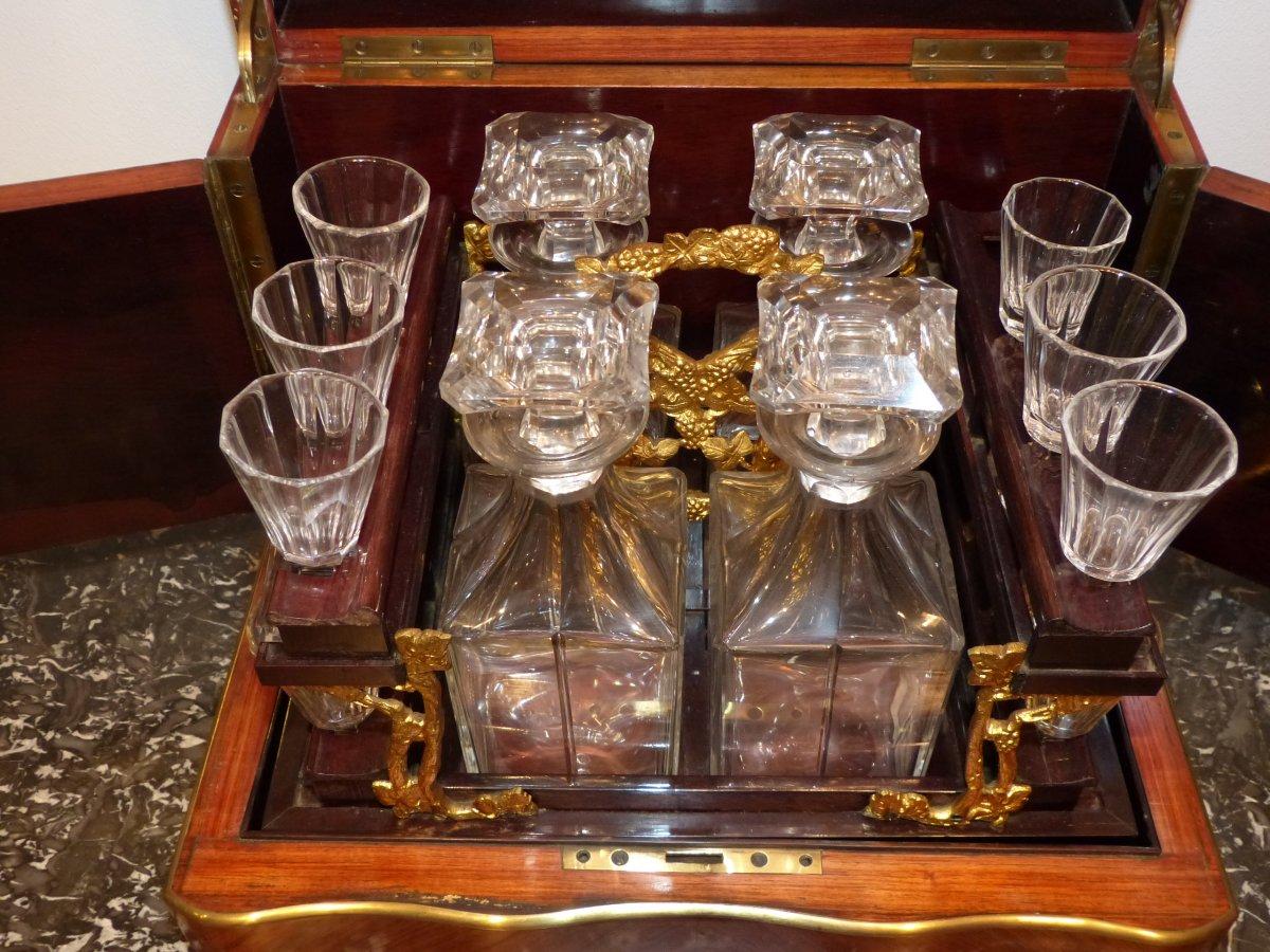 Cave  liqueur Napolon III carafes et verres en cristal