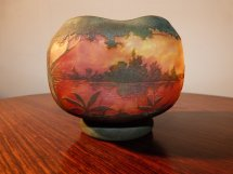 Daum Nancy Vase Paysage Lacustre En Verre Multicouche